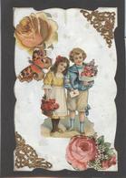 Themes Div-ref AA686- Carte Avec Decoupis -ajoutis - Decoupi  Enfants - Fleurs - Papillon - - Fantaisies