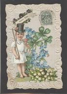 Themes Div-ref AA685- Carte Avec Decoupis -ajoutis - Decoupi  Enfant Et Fleurs -porte Bonheur -myosotis -muguet - - Fantaisies