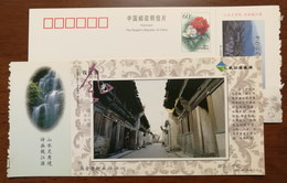 Majin Old Street,waterfall,China 2002 Kaihua Headstream Of Qianjiang River Tourism Advert Pre-stamped Card - Holidays & Tourism