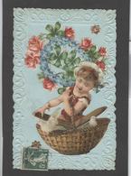 Themes Div-ref AA682- Carte Avec Decoupis -ajoutis - Decoupi  Enfant Et Fleurs - - Fantaisies