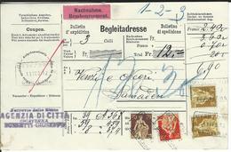 SBK 108, 114, 2x116 Nachnahme-Begleitadresse Chiavenna 11.2.12 Nach Samaden - Schweiz