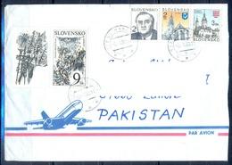 K512- Postal Used Cover. Posted  From Slovensko Slovakia To Pakistan. Plants. Tree. Building. - Slovakia