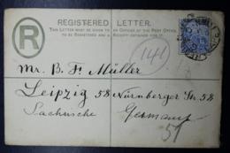 Cape Of Good Hope Registered Cover 4 P, 152:96 Mm  Cape Town -> Leipzig Germany 1901 - Capo Di Buona Speranza (1853-1904)