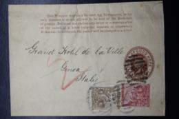 Cape Of Good Hope Newspaper Wrapper Uprated Kimberly -> Genua Italy Number Cancel 227 - Südafrika (...-1961)