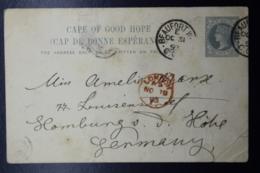 Cape Of Good Hope Postcard Nr 9 Beaufort West -> London -> Hamburg Germany 1893 - Südafrika (...-1961)