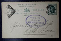 Cape Of Good Hope Reply  Postcard HG6  6aSommerset East -> Capetown 1895 - Capo Di Buona Speranza (1853-1904)
