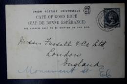 Cape Of Good Hope  Postcard HG 11 UPU In Black  Cape Town -> London Private Printed Back - Südafrika (...-1961)