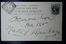Cape Of Good Hope  Postcard HG 11 UPU In Black  Madeira-> Capetown -> Durban - Südafrika (...-1961)