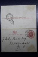 Cape Of Good Hope Letter Card L1 Port Alfred -> Barbados 1904 - Capo Di Buona Speranza (1853-1904)