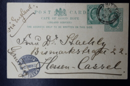 Cape Of Good Hope Uprated Postcard P17 Britstown -> Cassel Germany 1906 - Südafrika (...-1961)
