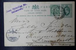 Cape Of Good Hope Uprated Postcard P17 Britstown -> Darmstadt  Germany 1904 - Südafrika (...-1961)