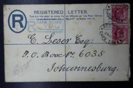 Cape Of Good Hope Registered Cover  HG 4a Cape Town -> Johannesburg  152:96 Mm - Südafrika (...-1961)
