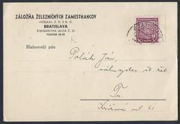 7ch.Service Post Card. Post 1937. Bratislava. Railway Company.Czechoslovakia. - Tchécoslovaquie