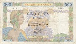 Billet 500 F La Paix Du 31-10-1940 FAY 32.08 Alph. Q.1214 - 1871-1952 Anciens Francs Circulés Au XXème