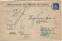 1920 Cachet Linéaire Stabstempel VADURA (St Gallen) Sur Lettre Nachnahme Remboursement, Refusé, Verweigert. Kleiner Dorf - Marcophilie