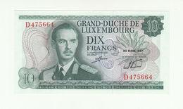 Luxembourg P.53  10 Francs 1967 Aunc - Lussemburgo