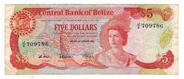 Belize 5 Dollars 1987 , VF. Rare - Belice