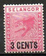 MALAISIE - SELANGOR - (Protectorat Britannique) - 1891-95 - N° 12 - 3 C. S. 5 C. Rose - (Tigre) - Selangor