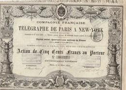 Ancienne Action - Compagnie Française De Télégraphe De Paris à New-York - Titre De 1879 - Titre N°30122 - Déco - Industrie