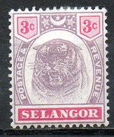 MALAISIE - SELANGOR - (Protectorat Britannique) - 1895 - N° 13 - 3 C. Violet-brun Et Carmin - (Tigre) - Selangor