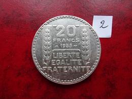 20 Francs - Type Turin - Argent - 1938 - L. 20 Francos