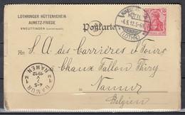 Postkaart Van Kneuttingen Hutte (Lothr.) Naar Namur - Ocupación 1914 – 18