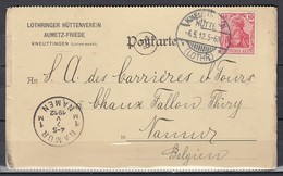 Postkaart Van Kneuttingen Hutte (Lothr.) Naar Namur - Besetzungen 1914-18