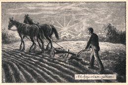 ESPERANTO : LABOURAGE Avec CHEVAUX / PLOWING With HORSES - VERDA STELO / LJUBLJANA - ANNÉE / YEAR ~ 1950 - '955 (aa716) - Esperanto
