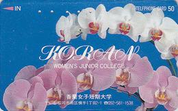 Télécarte Japon / 110-011 - Fleur - ORCHIDEE - ORCHID Flower Japan Phonecard ** Woman's College ** - 2353 - Blumen