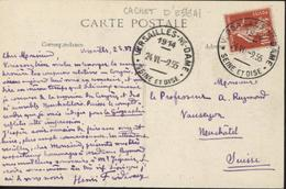 Cachet Essai Versailles NE Notre Dame Seine Et Oise 1914 24 VI 9.55 Sur CPA Versailles Galerie Des Batailles - Marcophilie (Lettres)