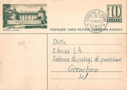 """PK 182  """"Morges Le Château""""  Cassina D'Agno              1962 - Entiers Postaux"""