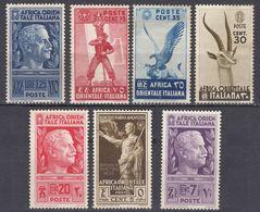 AFRICA ORIENTALE ITALIANA - 1938 - Lotto Di 7 Valori Nuovi Senza Gomma/gomma Danneggiata: Yvert 3, 6, 8, 9, 11, 13 E 23 - Italian Eastern Africa