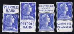 PUBLICITE: MARIANNE DE MULLER 20F BLEU PETROLE HAHN X4 ACCP 1342/1343/1344/1347** - Advertising