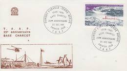 Enveloppe  FDC  1er  Jour   T.A.A.F    25éme  Anniversaire  Station  CHARCOT    1981 - FDC