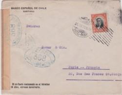 Lettre Chili, Ouvert Par L'autorité Militaire 368, Controle Postal, Cachet SANTIAGO 1916, Banco Español De Chile - Chili
