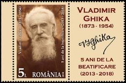ROMANIA, 2018, VLADIMIR GHIKA, Famous People, Religion, 1 Stamp + Label, MNH (**); LPMP 2216 - Ungebraucht