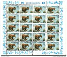 Luxembourg Feuille De 20 Timbres à 0,45 + 0,05 Euro Renard, Fuchs, Fox   Timbre De Bienfaisance 2002 - Full Sheets