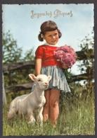 92545/ ENFANTS, Petits Amis, Fillette Avec Un Agneau, Joyeuses Pâques - Scènes & Paysages