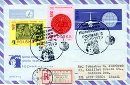 Poland-Israel 1973 Exhibition Registered Aerogramme Nicolaus Copernicus Matematichian & Astronomer VII - Astronomia