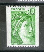 N° 1980**_Sabine 0.80 Vert_cote 1.60_(V694) - Coil Stamps