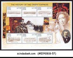 SIERRA LEONE - 2001 HISTORY OF ORIENT EXPRESS / RAILWAY - MIN/SHT MNH - Eisenbahnen
