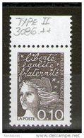 N° 3086b** Type 2_oreille Fendue En Bord De Feuille_(V625) - 1997-04 Marianne Of July 14th