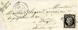 Cérès 20 Noir Sur Fragment Daté Du 18/02/1849.  Riez / Cursive 5 Moustiers Ste Marie - 1849-1850 Cérès