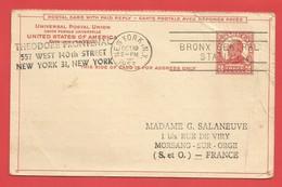 Carte Postale Entiers Postaux  états-unis-d'amérique Avec Réponse Payée THREE CENTS - New York -  VN Hauptquartier