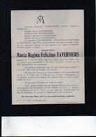 Maria Regina Taverniers °1890 OLV Tielt + 27/1/1913 Onze Lieve Vrouw Tielt Druk Tuerlinckx-Boeyé Aarschot VRANCKX - Décès