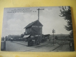 RARE CPA. 02 SAINT QUENTIN. PASSAGE A NIVEAU DE ROCOURT CHEMIN DE FER DE VELU-BERTIN - Chemins De Fer