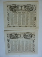 ALMANACH 1857 CALENDRIER  2 SEMESTRIELS   Allégorie Le Travail La Recontre Promenade   Attelages  Edit Dubois Trianon - Calendars