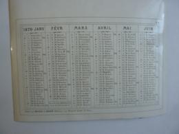 ALMANACH 1870  CALENDRIER SEMESTRIEL  NON DECOUPE   Imprimeur Mayoux Et Hon0ré - Calendriers