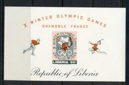 Liberia 1967 Winter Olympics Grenoble MS IMPERF MUH - Liberia