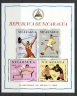 Nicaragua 1968 Summer Olympics Mexico City MS MUH - Nicaragua